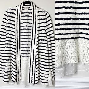 Anthropologie striped textured lace open cardigan